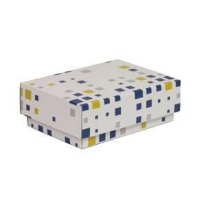 Dárková krabička s víkem 150x100x50/40 mm, VZOR - KOSTKY modrá/žlutá
