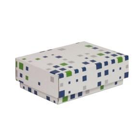 Dárková krabička s víkem 150x100x50/40 mm, VZOR - KOSTKY zelená/modrá