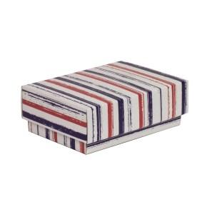 Dárková krabička s víkem 150x100x50/40 mm, VZOR - PRUHY fialová/korálová