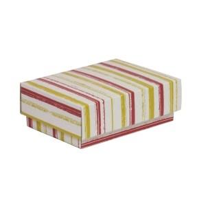 Dárková krabička s víkem 150x100x50/40 mm, VZOR - PRUHY korálová/žlutá