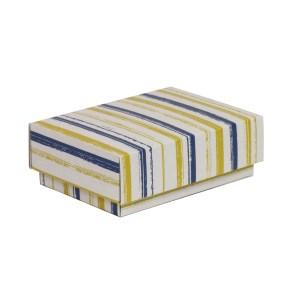 Dárková krabička s víkem 150x100x50/40 mm, VZOR - PRUHY modrá/žlutá