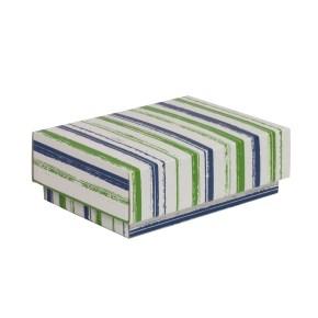 Dárková krabička s víkem 150x100x50/40 mm, VZOR - PRUHY zelená/modrá