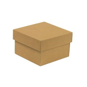 Dárková krabička s víkem 150x150x100/40 mm, hnědá - kraftová