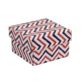 Dárková krabička s víkem 150x150x100/40 mm, VZOR - CIK CAK fialová/korálová
