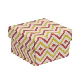Dárková krabička s víkem 150x150x100/40 mm, VZOR - CIK CAK korálová/žlutá