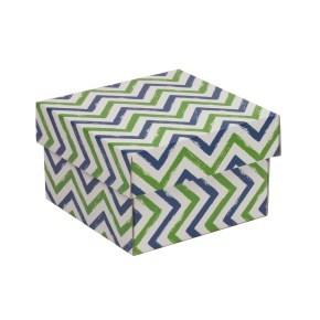 Dárková krabička s víkem 150x150x100/40 mm, VZOR - CIK CAK zelená/modrá
