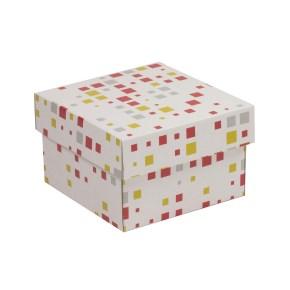 Dárková krabička s víkem 150x150x100/40 mm, VZOR - KOSTKY korálová/žlutá