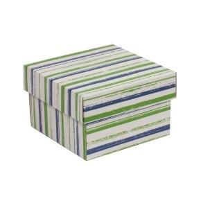 Dárková krabička s víkem 150x150x100/40 mm, VZOR - PRUHY zelená/modrá