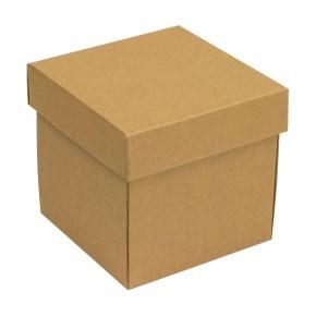 Dárková krabička s víkem 150x150x150/40 mm, hnědá - kraftová