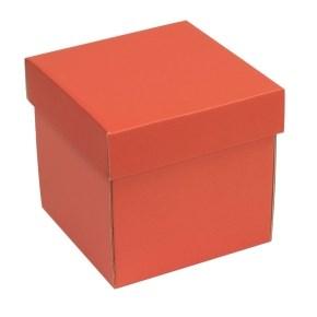 Dárková krabička s víkem 150x150x150/40 mm, korálová