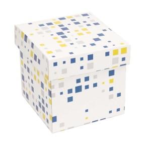 Dárková krabička s víkem 150x150x150/40 mm, VZOR - KOSTKY modrá/žlutá