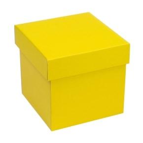 Dárková krabička s víkem 150x150x150/40 mm, žlutá