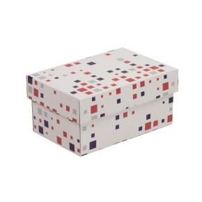 Dárková krabička s víkem 200x125x100/40 mm, VZOR - KOSTKY fialová/korálová