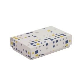 Dárková krabička s víkem 200x125x50/40 mm, VZOR - KOSTKY modrá/žlutá