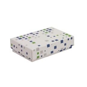 Dárková krabička s víkem 200x125x50/40 mm, VZOR - KOSTKY zelená/modrá