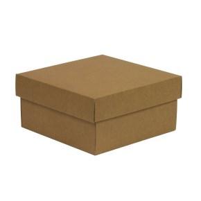 Dárková krabička s víkem 200x200x100/40 mm, hnědá - kraftová