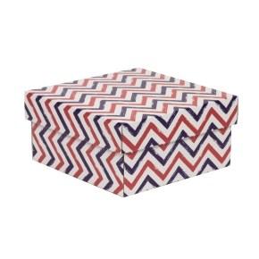 Dárková krabička s víkem 200x200x100/40 mm, VZOR - CIK CAK fialová/korálová