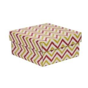 Dárková krabička s víkem 200x200x100/40 mm, VZOR - CIK CAK korálová/žlutá