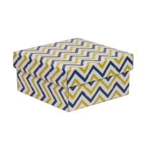Dárková krabička s víkem 200x200x100/40 mm, VZOR - CIK CAK modrá/žlutá