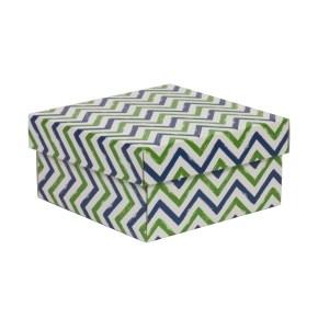 Dárková krabička s víkem 200x200x100/40 mm, VZOR - CIK CAK zelená/modrá