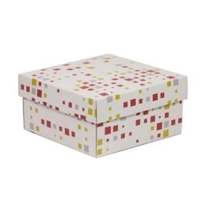 Dárková krabička s víkem 200x200x100/40 mm, VZOR - KOSTKY korálová/žlutá
