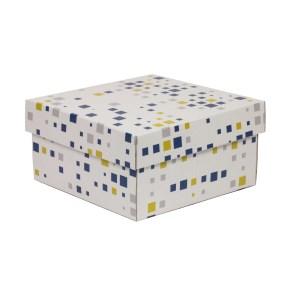 Dárková krabička s víkem 200x200x100/40 mm, VZOR - KOSTKY modrá/žlutá