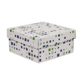Dárková krabička s víkem 200x200x100/40 mm, VZOR - KOSTKY zelená/modrá