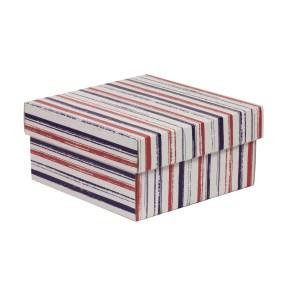 Dárková krabička s víkem 200x200x100/40 mm, VZOR - PRUHY fialová/korálová