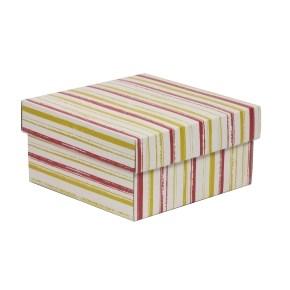 Dárková krabička s víkem 200x200x100/40 mm, VZOR - PRUHY korálová/žlutá