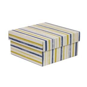 Dárková krabička s víkem 200x200x100/40 mm, VZOR - PRUHY modrá/žlutá