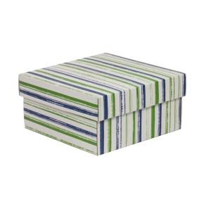 Dárková krabička s víkem 200x200x100/40 mm, VZOR - PRUHY zelená/modrá