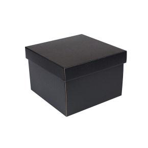 Dárková krabička s víkem 200x200x140/35 mm, černo šedá matná
