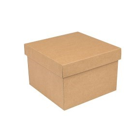 Dárková krabička s víkem 200x200x140/35 mm, hnědá kraftová