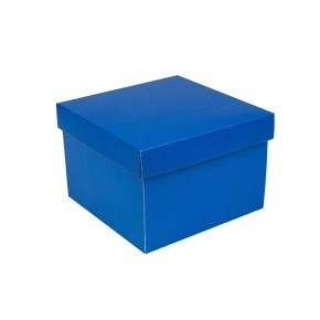 Dárková krabička s víkem 200x200x140/35 mm, modrá matná