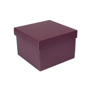 Dárková krabička s víkem 200x200x140/35 mm, vínová matná
