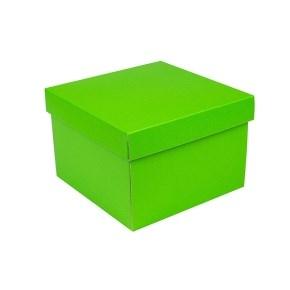 Dárková krabička s víkem 200x200x140/35 mm, zelená matná