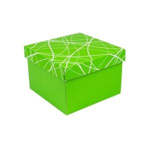 Dárková krabička s víkem 200x200x140/35 mm, zelená se vzorem matná