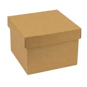 Dárková krabička s víkem 200x200x150/40 mm, hnědá - kraftová