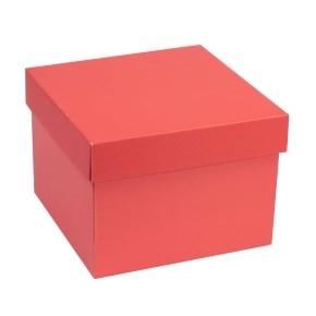 Dárková krabička s víkem 200x200x150/40 mm, korálová