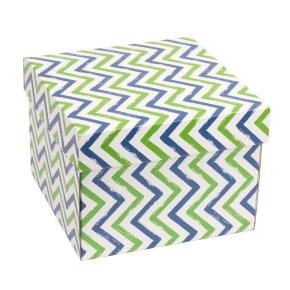 Dárková krabička s víkem 200x200x150/40 mm, VZOR - CIK CAK zelená/modrá
