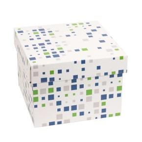 Dárková krabička s víkem 200x200x150/40 mm, VZOR - KOSTKY zelená/modrá