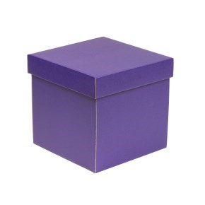 Dárková krabička s víkem 200x200x200/40 mm, fialová