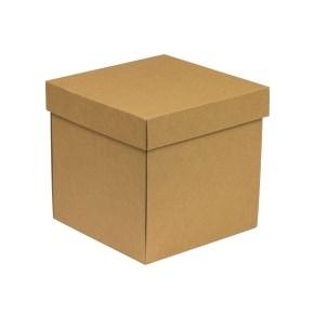 Dárková krabička s víkem 200x200x200/40 mm, hnědá - kraftová