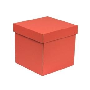 Dárková krabička s víkem 200x200x200/40 mm, korálová