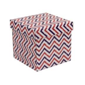 Dárková krabička s víkem 200x200x200/40 mm, VZOR - CIK CAK fialová/korálová