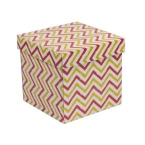 Dárková krabička s víkem 200x200x200/40 mm, VZOR - CIK CAK korálová/žlutá