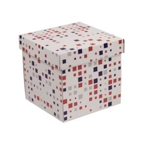 Dárková krabička s víkem 200x200x200/40 mm, VZOR - KOSTKY fialová/korálová