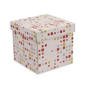 Dárková krabička s víkem 200x200x200/40 mm, VZOR - KOSTKY korálová/žlutá