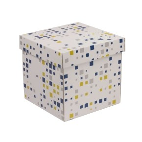 Dárková krabička s víkem 200x200x200/40 mm, VZOR - KOSTKY modrá/žlutá