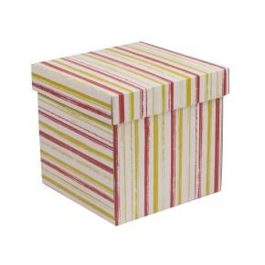 Dárková krabička s víkem 200x200x200/40 mm, VZOR - PRUHY korálová/žlutá